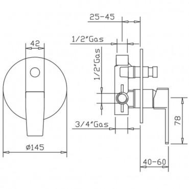 Miscelatore per doccia con deviatore H2q 3929