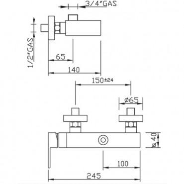 Miscelatore per doccia esterno New Space 3326 Gaboli Flli