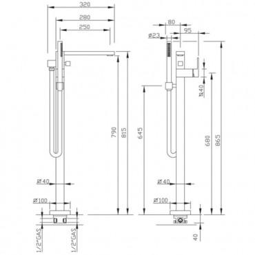 Miscelatore vasca freestanding Gaboli Flli rubinetteria