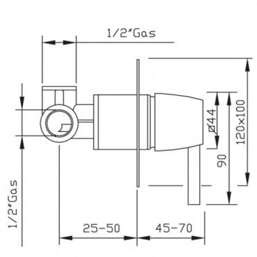 Mezclador de ducha empotrable Charlotte 3215 Gaboli Flli