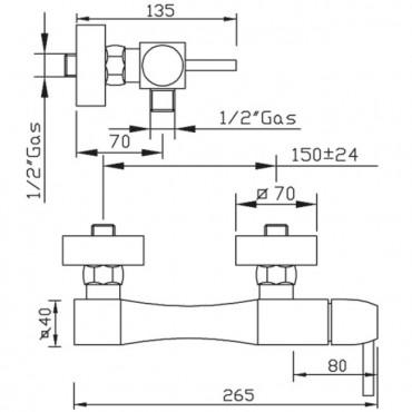 Mezclador de ducha externo Charlotte 3225 Gaboli Flli