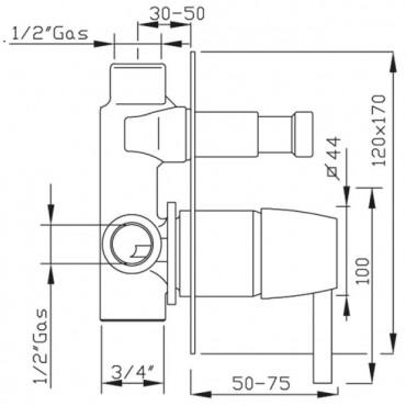 Built-in shower mixer diverter Gaboli Flli Rubinetteria