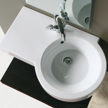 Olympia ceramic Tutto Evo right wall hung washbasin