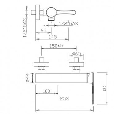 Miscelatore esterno per doccia design Jody 4325 Gaboli Flli