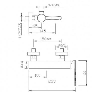 Mitigeur externe pour colonne de douche Jody 4326 Gaboli Flli