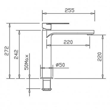 Miscelatore lavabo alto bagno con bocca lunga Mia 4203 Gaboli Flli
