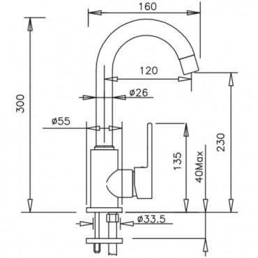 Miscelatore per lavabo senza scarico Mïa 4251