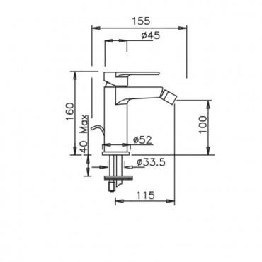 Miscelatore per bidet con scarico Kyro 3705