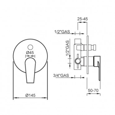 built-in shower mixer Gaboli Flli Rubinetteria