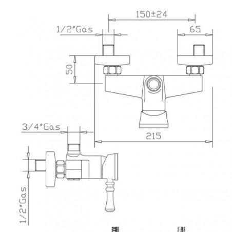 Shower mixer for shower column Gaboli Flli Rubinetteria