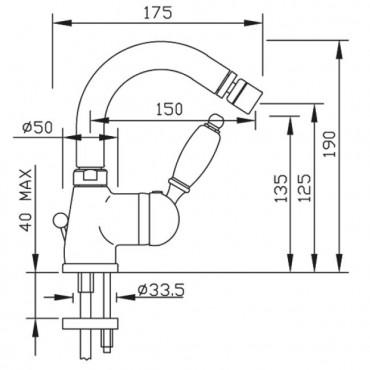 Parentesi 2105 Gaboli Flli mélangeur de bidet néoclassique