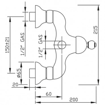 Miscelatore esterno doccia retro Parentesi 2125 Gaboli F.lli