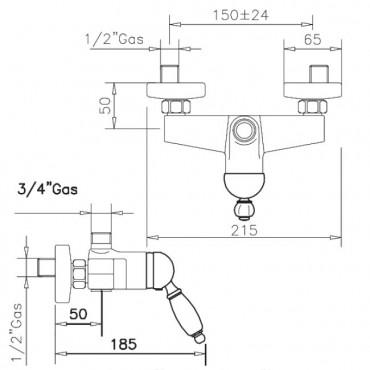 Miscelatore per colonna doccia vintage Parentesi 2126 Gaboli Flli