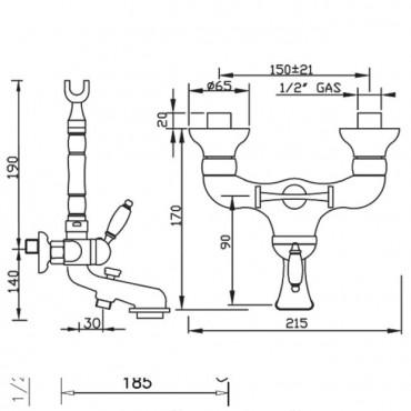 Back-mounted mixer Gaboli Flli Rubinetteria