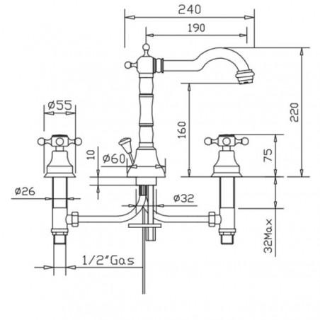 rubinetto bronzo Gaboli Flli Rubinetteria Papiro 901