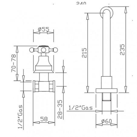 wall-mounted taps for classic washbasin Gaboli Flli Rubinetteria