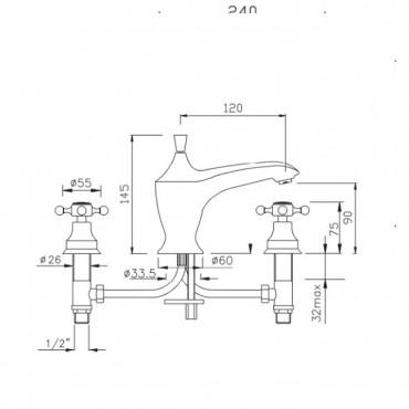 Batteria per lavabo con bocca bassa Papiro 890