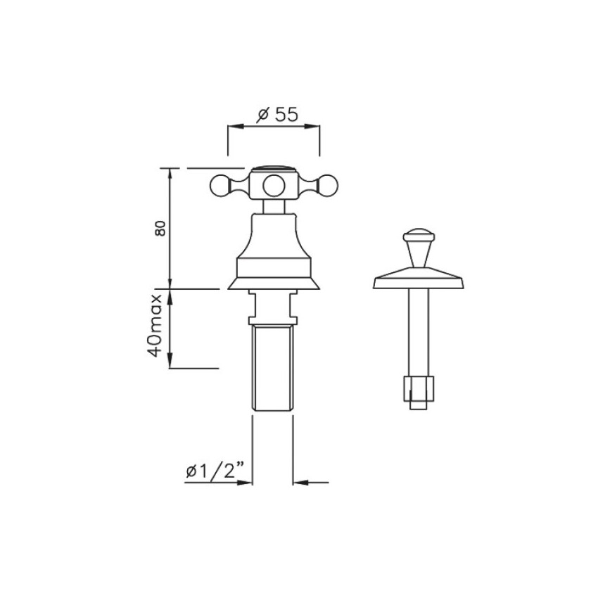 rubinetto vintage per bidet Gaboli Flli rubinetteria Papiro