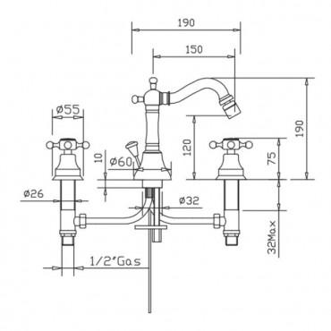 Mezclador de bidé clásico de 3 orificios Papiro 902cc Gaboli Flli