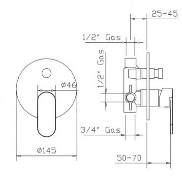 Mitigeur monocommande de douche avec déviateur Jolie 3830 Gaboli Flli