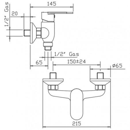 Shower mixer assembly Jolie Gaboli Flli Rubinetteria