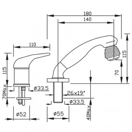 dimensioni rubinetto lavatesta per lavabo Beta