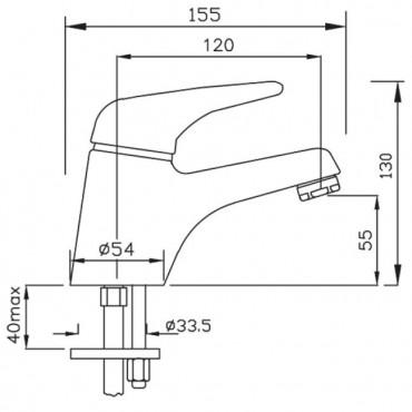 Miscelatore per lavabo senza scarico Beta 1099