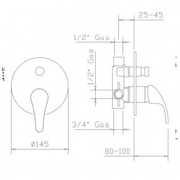 Robinet pour douche avec déviateur Beta 1092 Gaboli Flli
