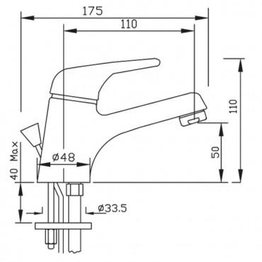 Miscelatore da lavabo con scarico Sax 1200