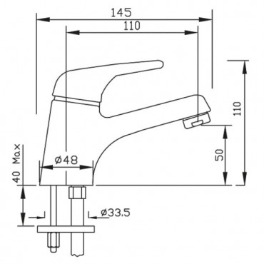 dimensioni rubinetto Sax
