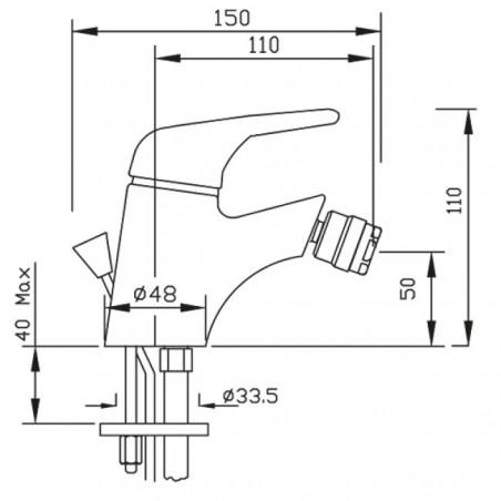 Le mélangeur de bidet Sax mesure Gaboli Flli Rubinetteria
