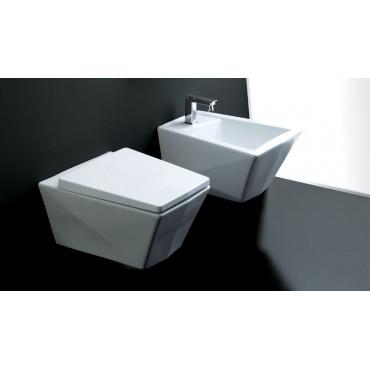 Toilettes suspendues en cristal