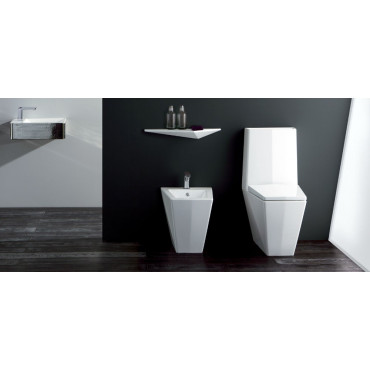 monobloc toilet and flush-to-wall bidet Crystal Olympia Ceramica