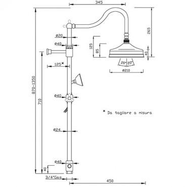 Colonna doccia retro PA360 bagno classico Gaboli Flli