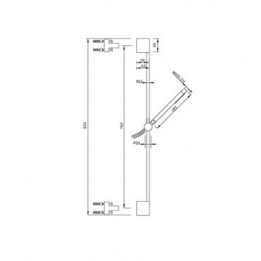 sliding rail for modern bathroom shower CO500 Gaboli Flli Rubinetteria