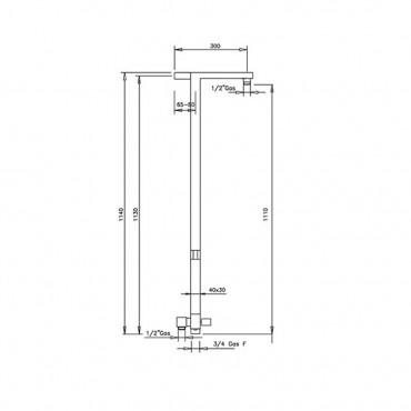 Colonna doccia con soffione acciaio NS360 Gaboli Flli