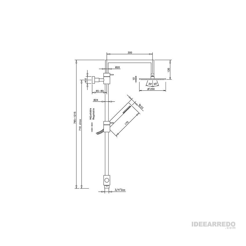 colonna per doccia QU360 Gaboli Flli rubinetteria
