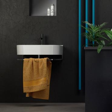 lavabos suspendus avec porte-serviettes en céramique Olympia