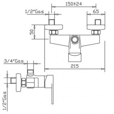 Doccia nera miscelatore per colonna doccia Mia 4226 Gaboli Flli