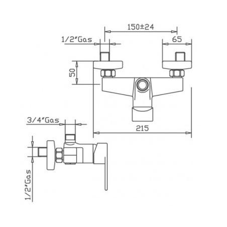 mixer for black shower column Gaboli Flli Rubinetteria