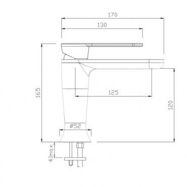 Black bathroom sink mixer Jody 4301 Gaboli Flli
