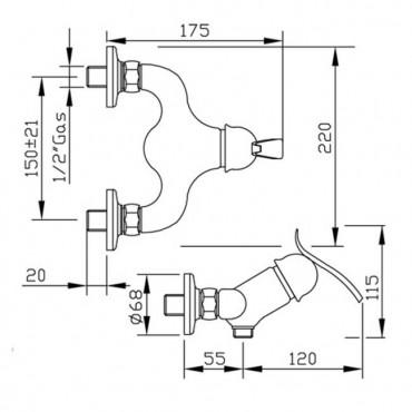 Miscelatore esterno doccia classico Teoria 3125 Gaboli Flli