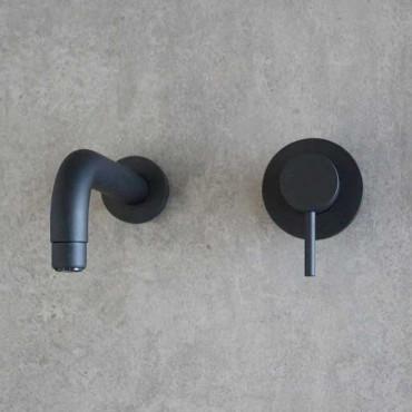 Mezclador de lavabo de pared negro Gaboli Flli Rubinetteria