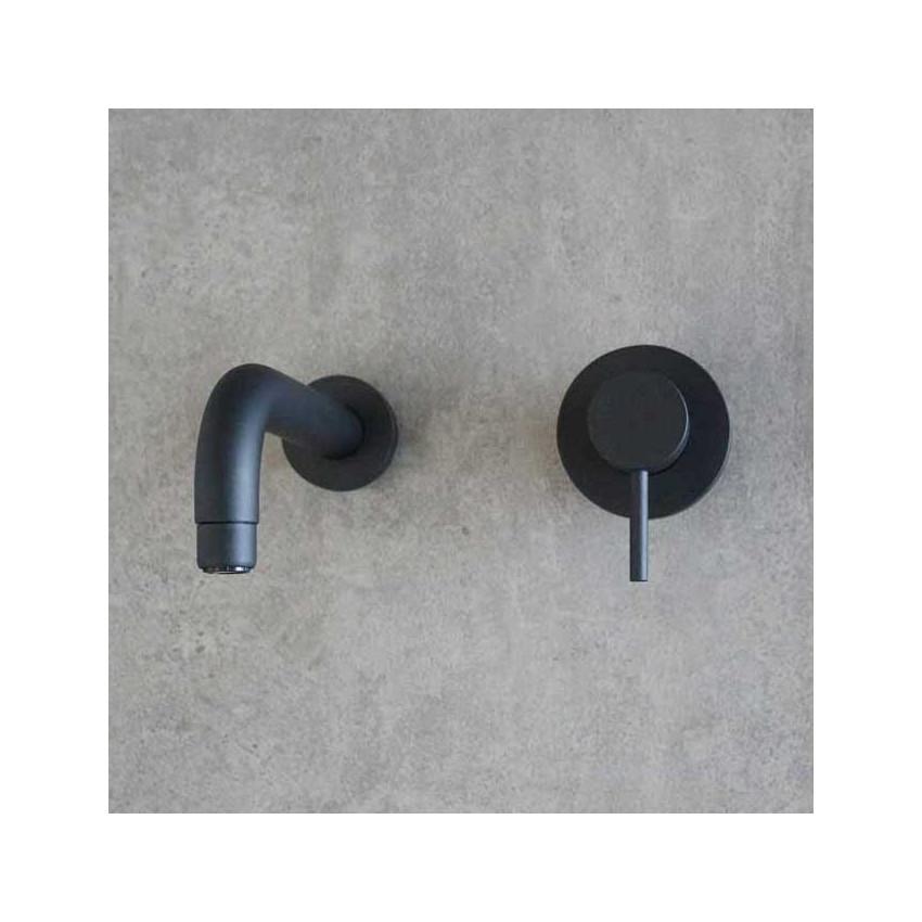 Miscelatore lavabo rubinetto a muro nero Heos 3070 Gaboli Flli