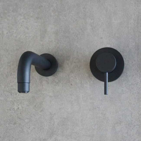 Miscelatore lavabo rubinetto a muro nero Gaboli Flli Rubinetteria