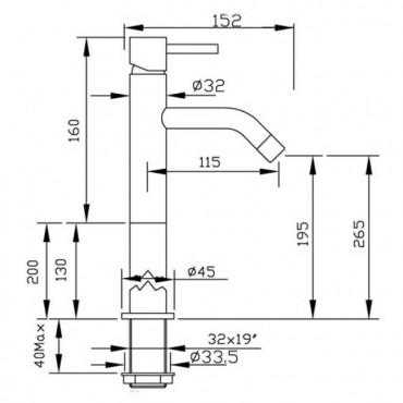 Miscelatore lavabo alto bagno moderno Heos 3052 Gaboli Flli