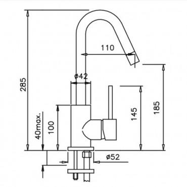 Miscelatore per lavabo con scarico Heos 3060