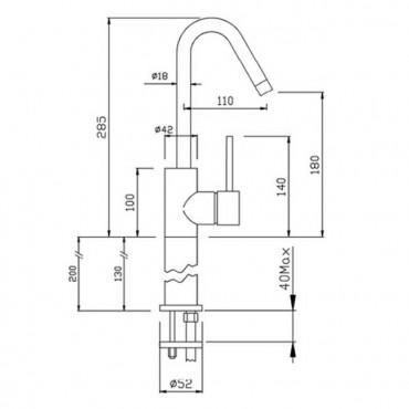 Miscelatore per lavabo senza scarico Heos 3062