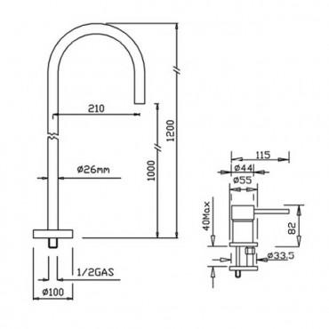 Bocca di erogazione a pavimento per lavabo Heos 3058