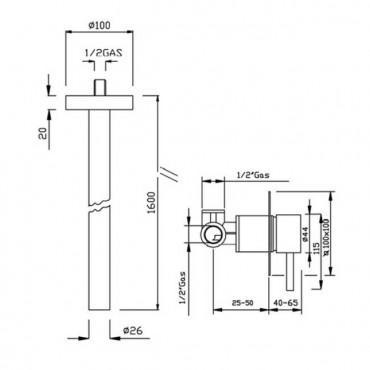 Bocca di erogazione a soffitto per lavabo Heos 3092